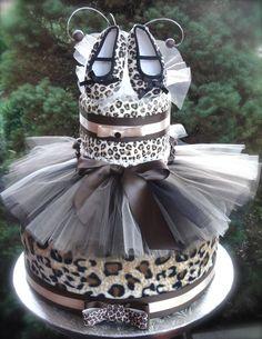 Leopard/Cheetah Diaper Cake www.facebook.com/DiaperCakesbyDiana