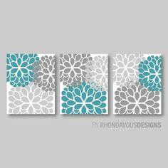 Gray Turquoise Dahlia Flower Print Trio  by RhondavousDesigns2, $20.00