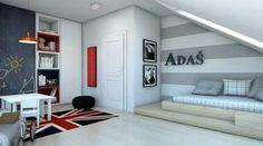 Pokój-dziecka-poddasze-2   DomoArt.pl   Pomysły na urządzanie, Dekoracje i aranżacje wnętrza Baby Bedroom, Kids Bedroom, Boy Room, Bunk Beds, Diy Home Decor, Sweet Home, Interior Design, Furniture, Studio