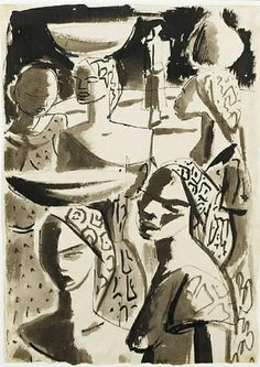 'The Water Carriers' by South African artist Irma Stern (1894-1996). Pen & ink & wash, 17.75 x 12.625 in. via Mutual Art