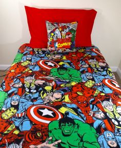 Marvel Avengers Bedding Set- Geeky Comic, Iron Man Thor Captain America Wolverine Spider-Man Hulk- Crib, Toddler, Twin, Full, Queen, King on Etsy, $160.00