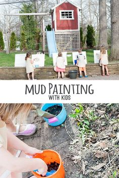 Setting up a mud painting station outdoors is a fun way to encourage movement and gross motor skills.