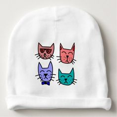 Custom baby beanie hat monkey do shower gifts diy customize cute kitty cast baby beanie hat cats baby gifts child new born gift idea diy negle Choice Image