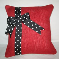 "OOAK Vintage Designer Valentine's Day China Red and Natural Burlap 12x12"" Pillow Cover Decorated Black and White Polka Dot 1-1/2""wide Ribbon..."