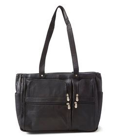 Another great find on #zulily! Black Multi-Pocket Leather Tote by David King & Co. #zulilyfinds