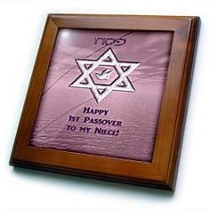 """1st Passover to Niece, Star of David with Dove in Pink - 8x8 Framed Tile by Beverly Turner Photography. $22.99. Inset high gloss 6"""" x 6"""" ceramic tile.. Dimensions: 8"""" H x 8"""" W x 1/2"""" D. Solid wood frame. Cherry Finish. Keyhole in the back of frame allows for easy hanging.. 1st Passover to Niece, Star of David with Dove in Pink Framed Tile is 8"""" x 8"""" with a 6"""" x 6"""" high gloss inset ceramic tile, surrounded by a solid wood frame with predrilled keyhole for easy ..."""
