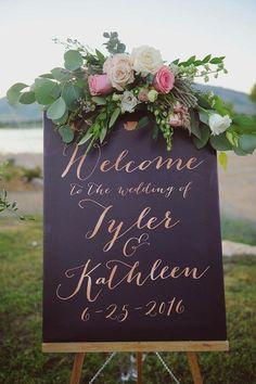 Bienvenido signo rosa de oro la boda boda por MissDesignBerryInc