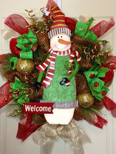 Snowman Mesh Christmas Wreath by WilliamsFloral on Etsy
