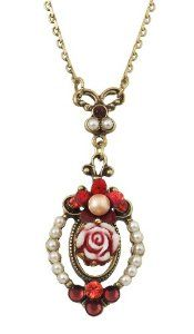 Michal Negrin Vintage Inspired Medallion Necklace Ornate with a Hand Painted Vintage Flower, Vintage Rose, Brass Ornaments, Faux Pearl, Orange and Red Swarovski Crystals,$68.00