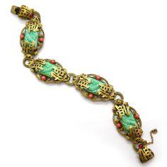 Image of Vintage Art Deco Czech Neiger Peking Glass Dragon Bracelet