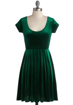 Vivacious in Velvet Dress in Emerald. Nothing puts a spring in your strut like the luxury of velvet, and this green mini dress will have you feeling like royalty wherever you wear it! #green #modcloth