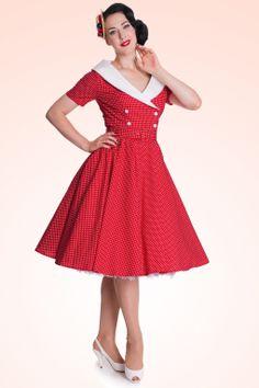 Bunny - 50s Retro Claudia Swing dress in Polka red white