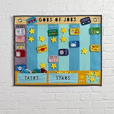 Gobs of Jobs Activity Chart - It's no secret. Living in a house with kids means tons of tasks, piles of projects and chunks of chores. Luckily, our Gobs of Jobs Activity Chart is ready to keep them all manageable. With various tasks that you can assign to family members throughout the week on a colorful felt calendar, it's an easy and fun way to keep the house running smoothly (or somewhat smoothly).