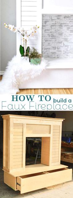 Shiplap Faux Fireplace with Limewash and Rustoleum Chalk Paint