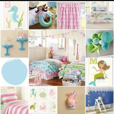 Inspiration board for girly ocean themed bedroom. Will use this to update Zoey's nursery when it's time for a big girl room.