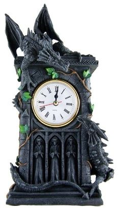 Stunning Gothic Clock With 2 Fighting Dragons by Nemesis Now