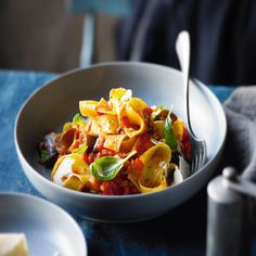 Aubergine and sweet pepper ragù with pappardelle