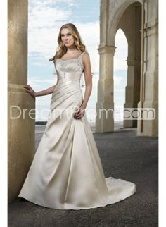 Fabulous+A-line+Straps+Sweetheart+Rouched+Bodice+Satin+Wedding+Dress+WD-0101