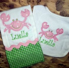 Nautical Crab Applique Baby Girl Monogrammed Bib & Burp Cloth Set, Personalized Monogram Summer Beach Baby Shower Gift on Etsy, $24.00