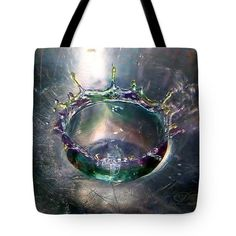 Tote Bag featuring the photograph Colorful Water Droplet Crown by Michael Johnk