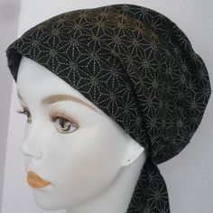 Shashiko Patterned Classic Cancer Hat Chemo by EnglishTraditions, $16.95
