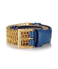 Blue leather gold-tone chain belt by Prada on secretsales.com