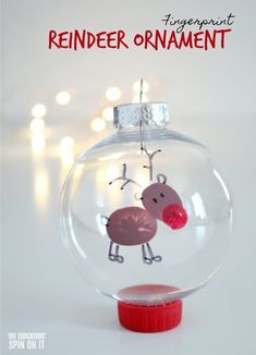 Adorable Fingerprint Reindeer Ornament To Make with Your Child Fingerprint Reindeer Ornament for Preschoolers for Christmas to go along with the story Rudolph the Red Nose Reindeer, a holiday classic book! Kids Christmas Ornaments, Reindeer Ornaments, Preschool Christmas, Christmas Crafts For Kids, Christmas Activities, Christmas Art, Christmas Projects, Holiday Crafts, Holiday Fun