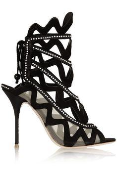 Mila crystal-embellished suede sandals by Sophia Webster