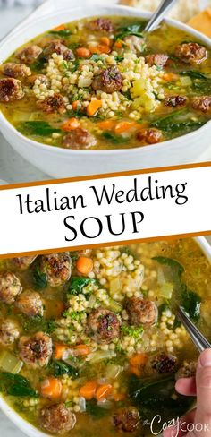 dinner recipes This Italian Wedding Soup can be made on the Stove Top, Crock Pot, orthe Instant Pot! Make it with homemade or frozen meatballs for a healthy, freezer-friendly meal! Cooker Recipes, Crockpot Recipes, Crock Pot Soup Recipes, Instapot Soup Recipes, Italian Wedding Soup Recipe, Italian Soup Recipes, Healthy Italian Recipes, Italian Meals, Freezer Friendly Meals