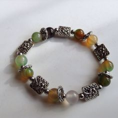 Chalcedony Bracelet. Genuine Multi-Coloured And Green Gem Stones. One Off