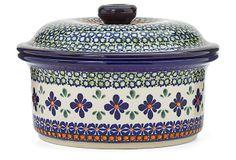 Round Covered Casserole, Star on OneKingsLane.com [Polish Pottery]