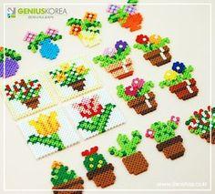 Cute Perler Bead cactus and flowers ##perlerbeads