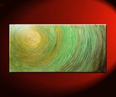 Green Abstract Painting Impasto Textured Modern Abstract Art Urban Original Ships Fast Accent Size Wall Decoration 30x15
