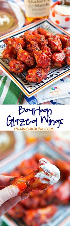 Bourbon Glazed Wings recipe - chicken wings marinated in a quick homemade bourbon hot sauce then baked. These wings were SO good! I am going to make them again for dinner this week. There werent any left! More Appetizers Entertainment Burger Bar, Chicken Wing Recipes, Recipe Chicken, Churros, Tapas, Bourbon Glaze, Good Food, Yummy Food, Football Food