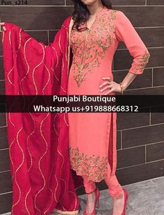 Salmon Embroidered Churidar Suit Product Code; Pun_s214 To order this dress , please call or WhatsApp us at +919888668312 or directly message us on FB We can design this Suit in any color combination or on any fabric (price may vary according to fabric)