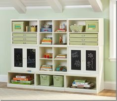 Very Pottery Barn. I like the chalkboards on the doors. I might do that an our IKEA doors. Too much open storage for us with small kids, they would have all the boxes emptied.