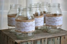 Set of 5 lace and burlap mason jars- rustic, country wedding- vases