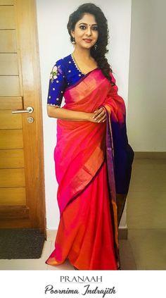 Poornima Indrajith in Pranaah - long sleeve cream blouse, satin silk blouses shirts, floral… - Wedding Lover Saree Blouse Patterns, Sari Blouse Designs, Simple Sarees, Bollywood, Blouse Models, Elegant Saree, Saree Dress, Saree Styles, Beautiful Saree