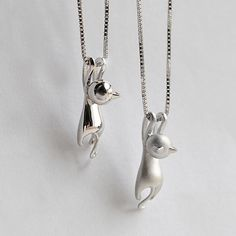 Silver Kitty Cat Charm Pendant Necklace – Just Love Cats