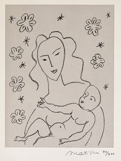 Matisse, Virgin and Child on the background of flowers and of stars (1950-51)