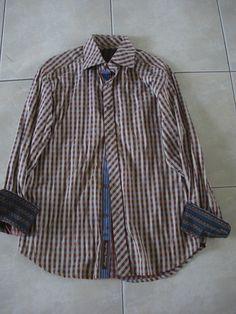 Robert Graham Long Sleeve Shirt Flip Printed Cuff Sz Large #RobertGraham #ButtonFront
