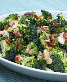 Creamy Broccoli Salad with Bacon, Cheddar & Almonds