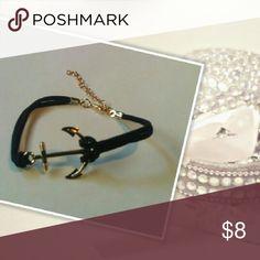 🍻HP Gold Anchor Rope Bracelet NWT! Gold anchor black rope adjustable bracelet. Jewelry Bracelets
