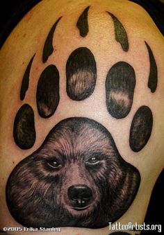 Grizzly Bear Paw Print Tattoo bear tattoos designs and ideas Wolf Tattoos, Bear Paw Tattoos, Lion Tattoo, Animal Tattoos, Tatoos, Virgo Tattoos, Bear Tattoo Meaning, Tattoos With Meaning, Tattoo Meanings