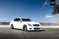 Take a look at the Rebellious Beauty: White Infiniti Boasting Stylish Aftermarket Products photos and go back to customizing your vehicle with renewed passion. Skyline Gt, Nissan Skyline, Infiniti G37x, Nissan Infiniti, Infiniti Vehicles, Maserati Gt, G37 Sedan, Custom Wheels And Tires, My Ride