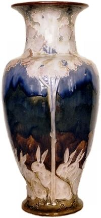 Very Tall Vase with Hares by Mark V Marshall  for Doulton Lambeth late 1880s