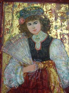 EDNA HIBEL ORIGINAL 'SANDY OF NEW ORLEANS' OIL PAINTING WITH FRESCO ON CANVAS