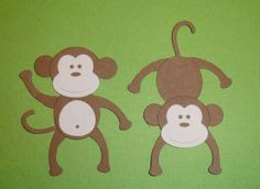 2 Cheeky Monkey Die Cuts for Cards and by pinkdesertbluebird