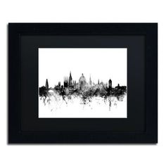 "Trademark Art ""Oxford England Skyline B&W"" by Michael Tompsett Framed Graphic Art Size: 11"" H x 14"" W x 0.5"" D"