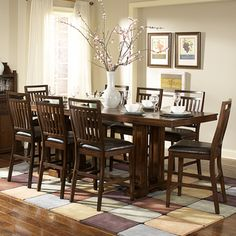 @Overstock - Create a casual feeling in your formal dining room with the classic Harper dining set. This dining set is perfect for entertaining in comfort and style. Its cherry features welcome a warm comfy lookhttp://www.overstock.com/Home-Garden/Harper-9-piece-Cherry-Counter-Height-Dining-Set/6842603/product.html?CID=214117 $1,320.99